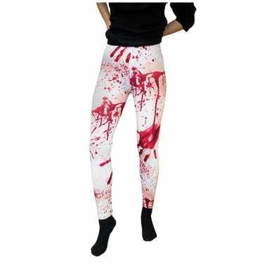 Verpleegster halloween witte legging met bloedvlekken carnaval
