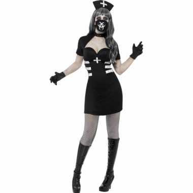 Verpleegster halloween zwart zombie zuster kostuum carnaval