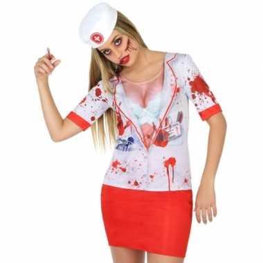 Verpleegster horror zuster verkleed shirt voor dames carnaval